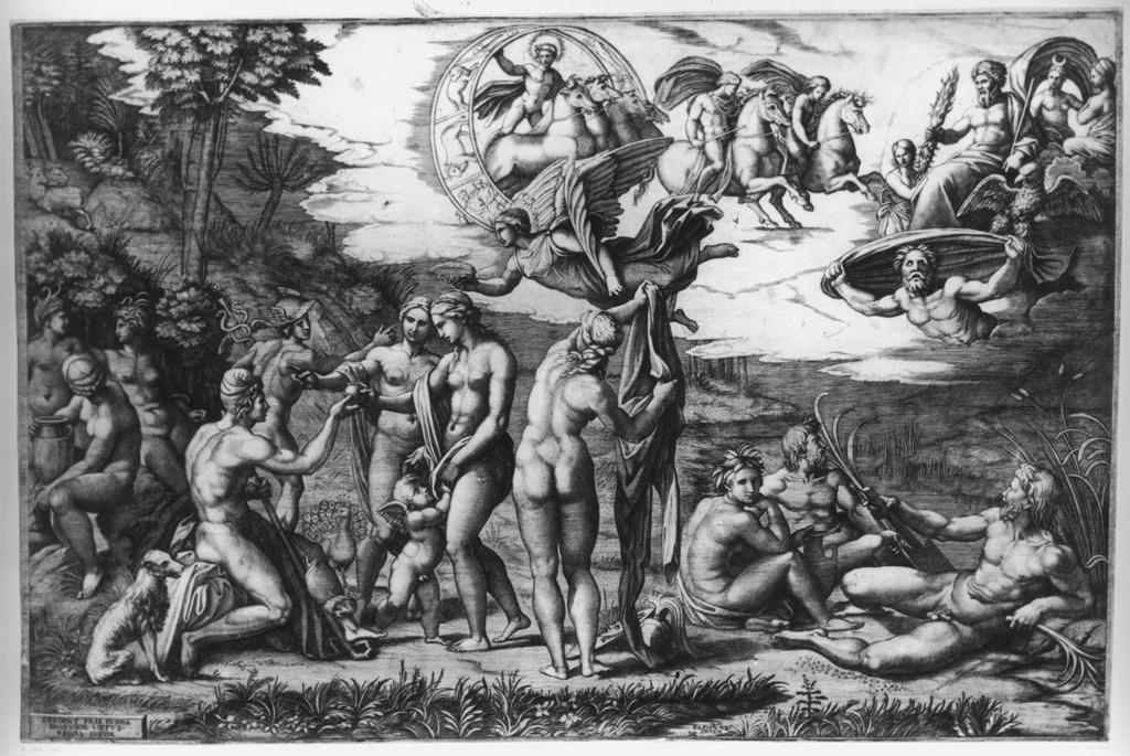 Raimondi, Marcantonio.  The Judgement of Paris. Engraving. 1516.