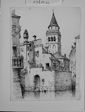 A.F. Bunner, Rio e Campanile San Martino, Venice. 1883. Ink on paper. 13 x 9 in.
