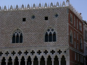 Exterior of the Palazzo Ducale, Venice, begun 1341, continued 1424. Photograph by Marjorie Och, http://www.flickr.com/photos/7610850@N08/