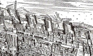 Jacopo de' Barbari, View of Venice, 1500, woodcut. From page 88 of R. J. Goy's Building Renaissance Venice: Patrons, Architects and Builders c. 1430-1500.