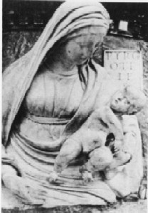 "Pyrgotelis, Virgin and Child, 1480s, Venice, Italy. A. Moncrieff and K. F. B. Hempel, ""Conservation of Sculptural Stonework: Virgin & Child on S. Maria dei Miracoli and the Loggetta of the Campanile, Venice,"" Studies in Conservation, Vol. 22, No. 1, 1977, 3.  After Treatment."